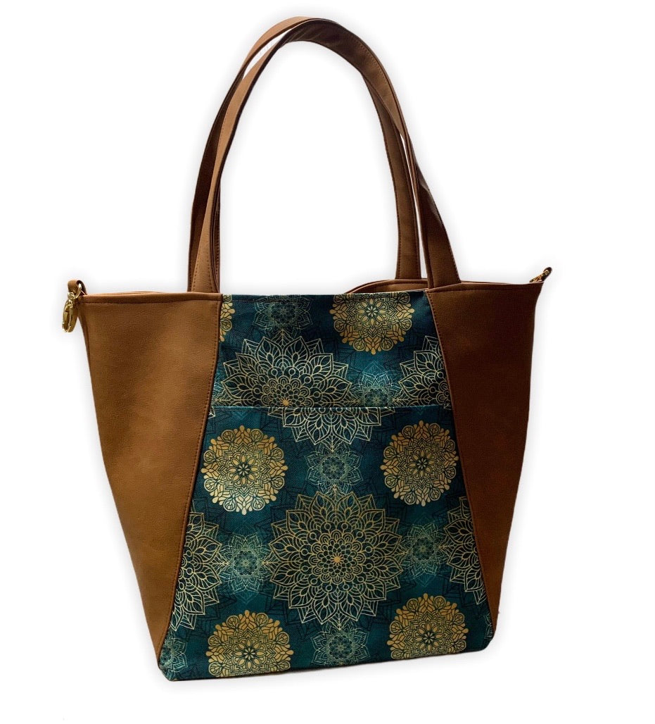 Un city bag marron mat & mandala émeraude