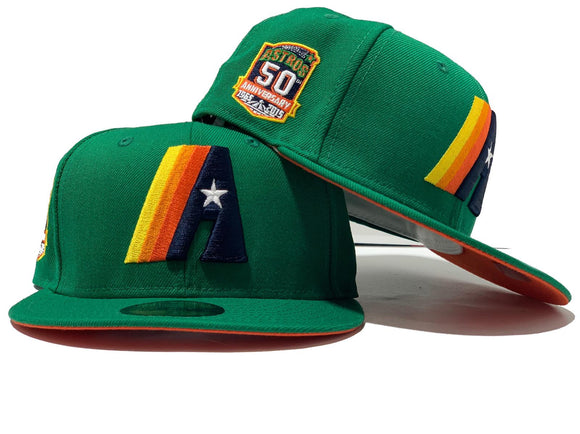 HOUSTON ASTRO 50TH ANNIVERSARY LIGHT GREEN ORANGE BRIM NEW ERA FITTED HAT