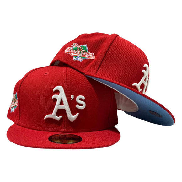 OAKLAND ATHLETICS 1990 WORLD SERIES RED ICY BRIM NEW ERA FITTED HAT