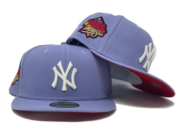 NEW YORK YANKEES 1999 WORLD SERIES LAVENDER RED BRIM NEW ERA FITTED HAT