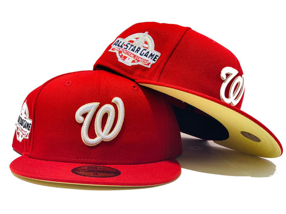 WASHINGTON NATIONALS 2018 ALL STAR GAME RED BUTTER  YELLOW BRIM NEW ERA FITTED HAT