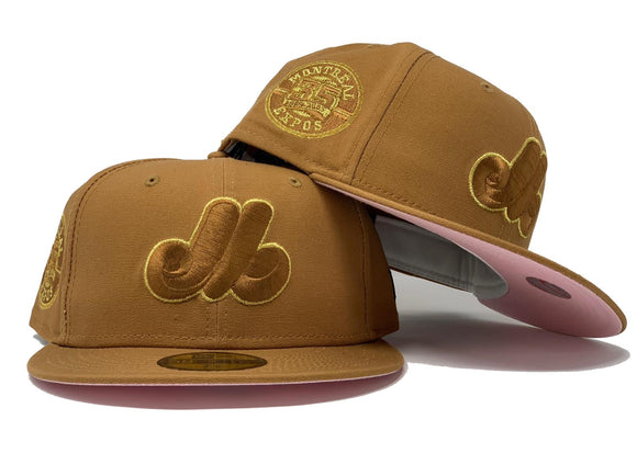 MONTREAL EXPOS 35TH ANNIVERSARY LIGHT BRONZE PINK BRIM NEW ERA FITTED HAT