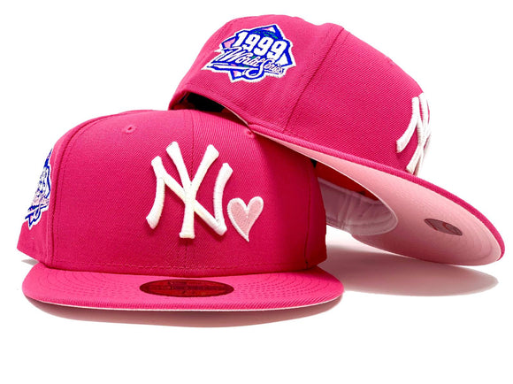 NEW YORK YANKEES 1999 WORLD SERIES HOT PINK LIGHT PINK BRIM NEW ERA FITTED HAT
