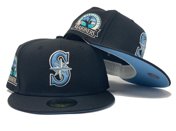 SEATTLE MARINERS 30TH ANNIVERSARY BLACK ICY BRIM NEW ERA FITTED HAT