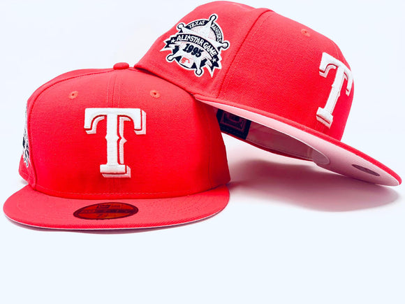 TEXAS RANGERS 1995 ALL STAR GAME  INFRARED PINK BRIM NEW ERA FITTED HAT