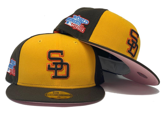 SAN DIEGO PADRES RETRO 1984 WORLD SERIES PINK BRIM NEW ERA FITTED HAT