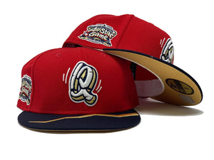 RANCHO CUCAMONGA QUAKES ALL STAR GAME RED METALLIC GOLD BRIM NEW ERA FITTED HAT