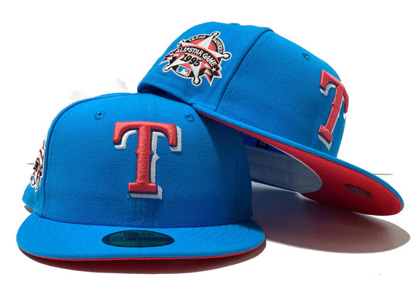 TEXAS RANGERS 1995 ALL STAR BRIGHT BLUE LAVA RED BRIM NEW ERA FITTED HAT