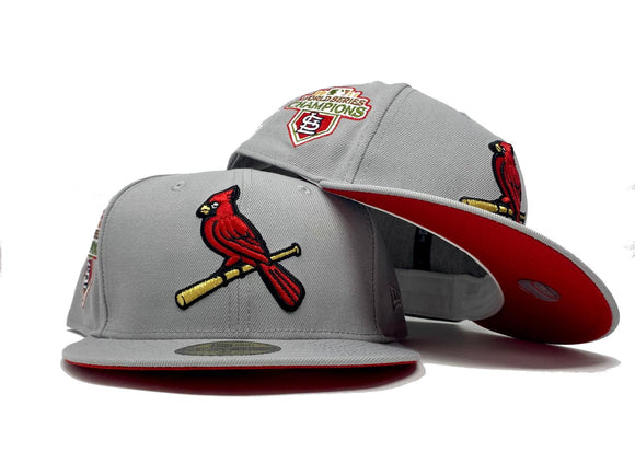 ST. LOUIS CARDINALS 2011 WORLD SERIES CHAMPIONS LIGHT GRAY RED BRIM NEW ERA FITTED HAT