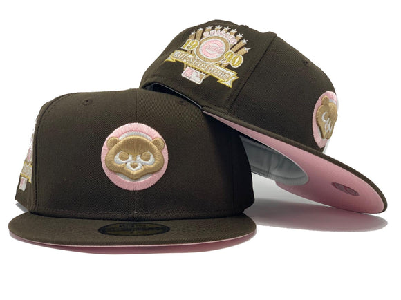 CHICAGO CUBS 1990 ALL STAR GAME WALNUT PINK BRIM NEW ERA FITTED HAT