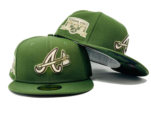 ATLANTA BRAVES FINAL SEASON TURNER FIELD OLIVE GREEN CAMOUFLAGE BRIM NEW ERA FITTED HAT