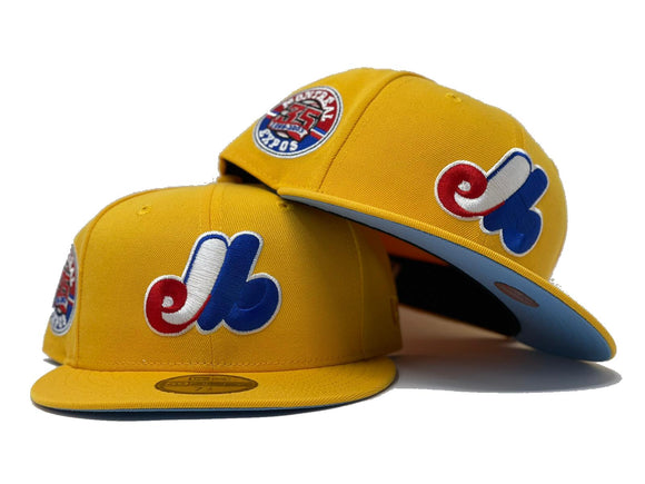 MONTREAL EXPOS 35TH SEASON TAXI YELLOW ICY BRIM NEW ERA FITTED HAT