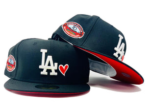LOS ANGELES DODGERS 50TH ANNIVERSARY WITH HEART BLACK RED BRIM NEW ERA FITTED HAT