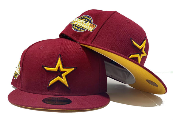HOUSTON ASTRO 2005 WORLD SERIES BURGUNDY YELLOW BRIM NEW ERA FITTED HAT