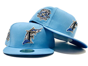 FLORIDA MARLIN 10TH ANNIVERSARY SKY BLUE ROYAL BRIM NEW ERA FITTED HAT