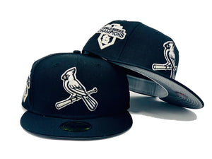 "ST. LOUIS CARDINALS 2011 WORLD SERIES CHAMPIONS BLACK 3M REFLECTIVE BRIM ""GLOW IN THE DARK""  NEW ERA FITTED HAT TO MATCH JORDAN RETRO 11 JUBILEE 25 ANNIVERSARY"