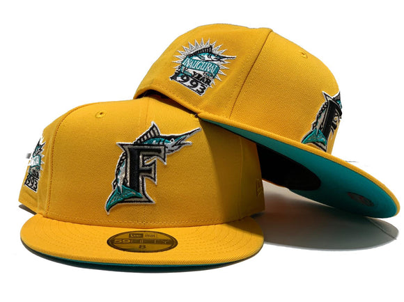 FLORIDA MARLIN 1993 INAUGURAL SEASON TAXI YELLOW TEAL BRIM NEW ERA FITTED HAT