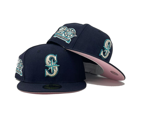 SEATTLE MARINERS 20TH ANNIVERSARY DARK NAVY PINK BRIM NEW ERA FITTED HAT