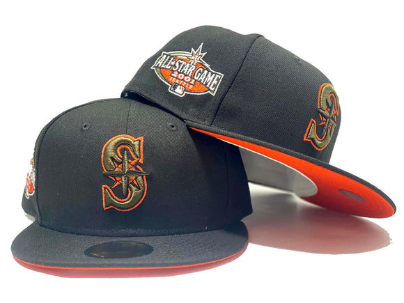SEATTLE MARINERS 2001 ALL STAR GAME BLACK ORANGE BRIM NEW ERA FITTED HAT