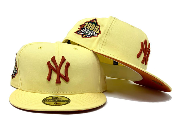 NEW YORK YANKEES 1999 WORLD SERIES SOFT YELLOW RUST ORANGE BRIM NEW ERA FITTED HAT