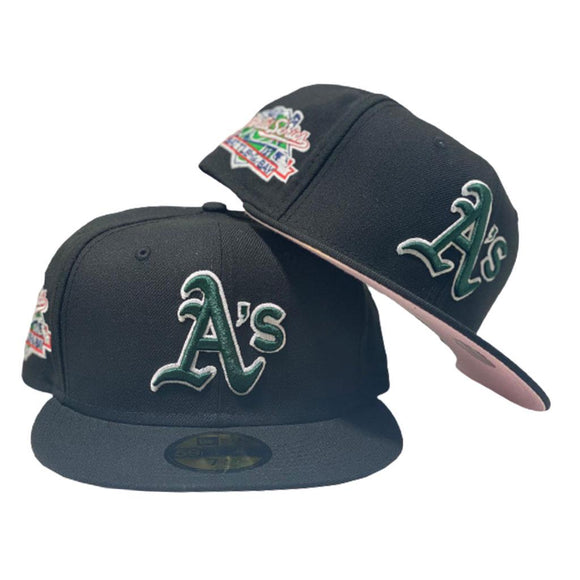 OAKLAND ATHLETICS 1989 BATTLE OF THE BAY BLACK PINK BRIM NEW ERA FITTED HAT