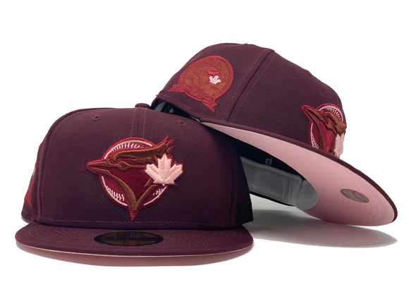 TORONTO BLUE JAYS 40TH SEASON MAROON PINK BRIM NEW ERA FITTED HAT