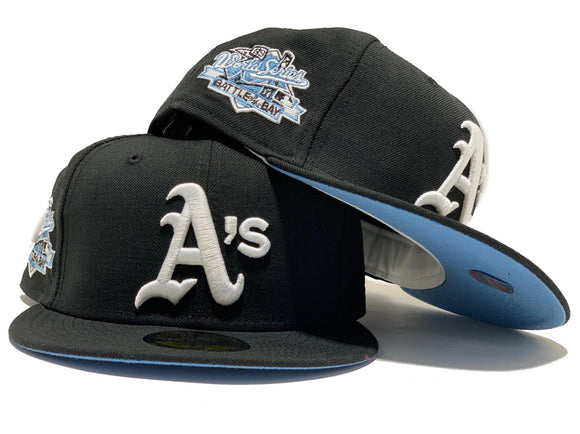 OAKLAND ATHLETICS 1989 BATTLE OF THE BAY BLACK ICY BRIM NEW ERA FITTED HAT