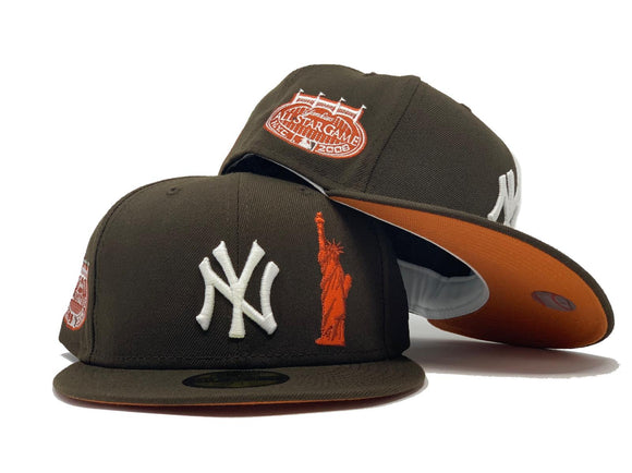 NEW YORK YANKEES STATUE OF LIBERTY 2008 ALL STAR GAME WALNUT RUST ORANGE BRIM NEW ERA FITTED HAT