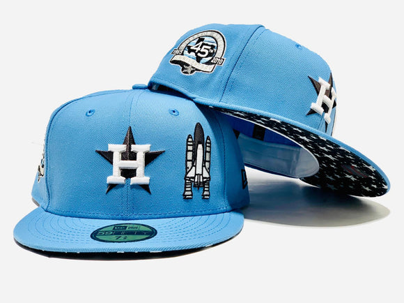 HOUSTON ASTROS 45TH ANNIVERSARY SPACE ROCKET SKY BLUE STAR PRINT BRIM NEW ERA FITED HAT