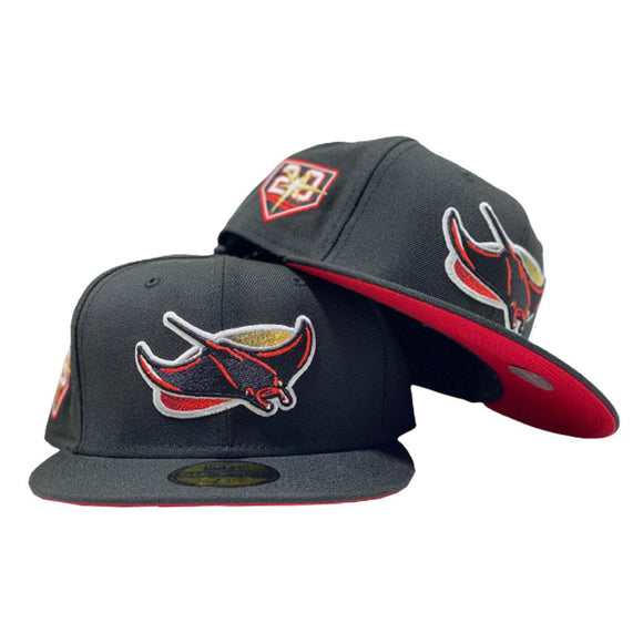 TAMPA BAY 20TH SEASON BLACK RED BRIM NEW ERA FITTED HAT