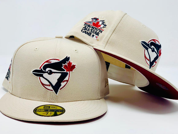 TORONTO BLUE JAYS 1991 ALL STAR GAME OFF WHITE MAROON BRIM NEW ERA FITTED HAT