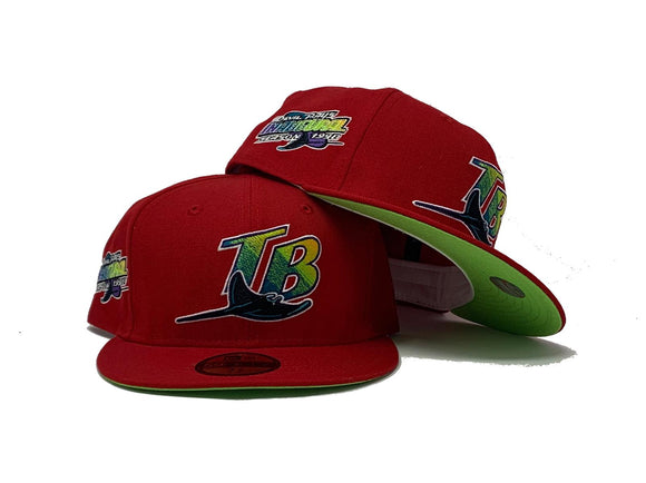 TAMPA BAY DEVIL RAYS 1998 INAUGURAL SEASON RED NEON GREEN BRIM NEW ERA FITTED HAT