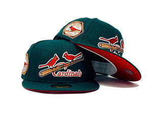 "ST. LOUIS CARDINALS 1931 WORLD SERIES "" FOREST PACK"" GREEN RED BRIM NEW ERA FITTED HAT"