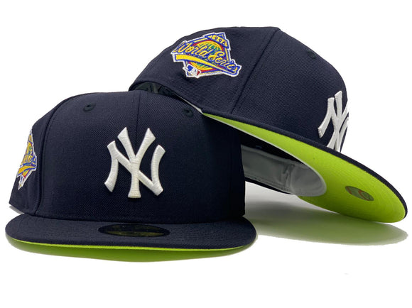 NEW YORK YANKEES 1996 WORLD SERIES NAVY NEON GREEN BRIM NEW ERA FITTED HAT