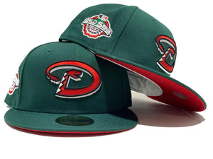ARIZONA DIAMONDBACKS 2001 WORLD SERIES DARK GREEN WATERMELON BRIM NEW ERA FITTED HAT