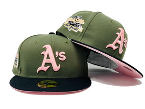 OAKLAND ATHLETICS 1989 BATTLE OF THE BAY WORLD SERIES OLIVE GREEN BLACK VISOR PINK BRIM NEW ERA FITTED HAT