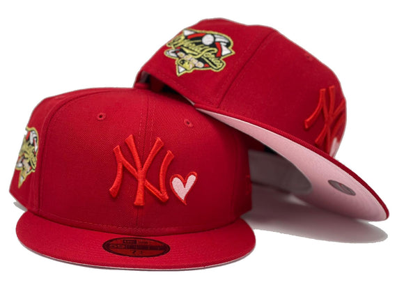 NEW YORK YANKEES 2000 WORLD SERIES RED PINK BRIM NEW ERA FITTED HAT