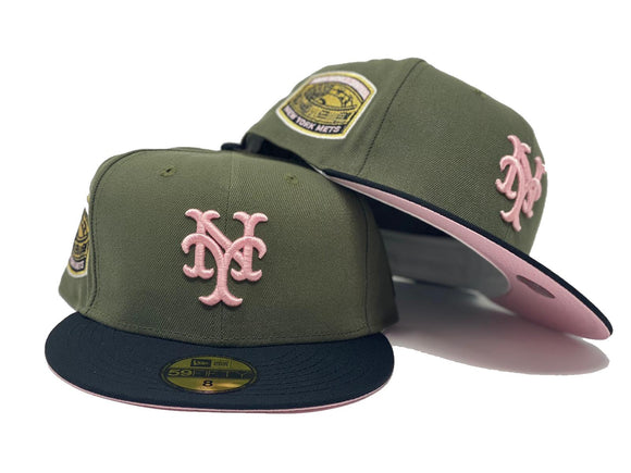 NEW YORK METS 1969 WORLD SERIES OLIVE CAP BLACK VISOR PINK BRIM NEW ERA FITTED HAT