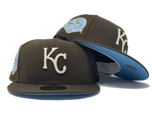 "KANSAS CITY ROYALS 40TH ANNIVERSARY "" GLOW IN THE DARK"" BROWN ICY BRIM NEW ERA FITTED HAT"