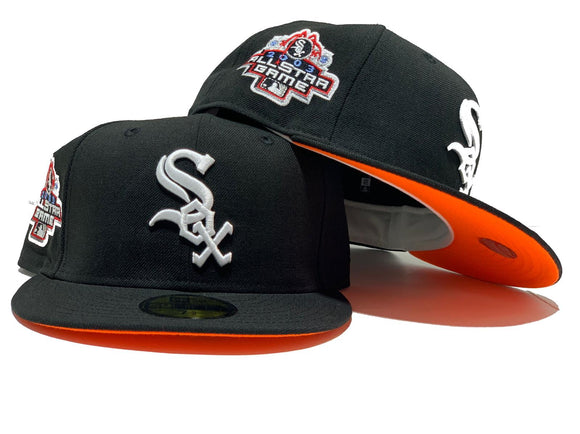 CHICAGO WHITE SOX 2003 ALL STAR GAME BLACK NEON ORANGE BRIM NEW ERA 59FIFTY FITTED HAT