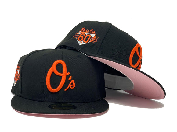 BALTIMORE ORIOLES 60TH SEASON BLACK PINK BRIM NEW ERA FITTED HAT