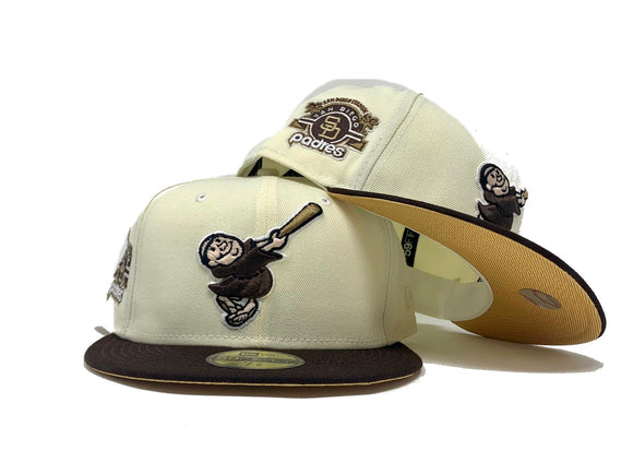 SAN DIEGO PADRESS OFF WHITE METALLIC GOLD BRIM NEW ERA FITTED HAT