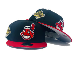 CLEVELAND INDIANS 1995 WORLD SERIES BLACK CAP RED VISOR GRAY BRIM NEW ERA FITTED HAT
