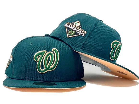 WASHINGTON NATIONALS 2019 WORLD SERIES CHAMPIONS DARK GREEN PEACH BRIM NEW ERA FITTED HAT