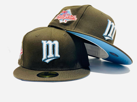 MINNESOTA TWINS 1991 WORLD SERIES BROWN ICY BRIM NEW ERA FITTED HAT