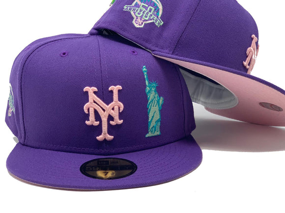 NEW YORK METS 50TH ANNIVERSARY LIGHT PURPLE PINK BRIM NEW ERA FITTED HAT