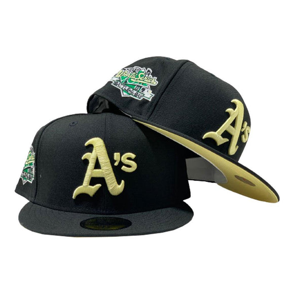 OAKLAND ATHLETICS 1989 BATTLE OF THE BAY WORLD SERIES BLACK BUTTER POPCORN BRIM NEW ERA FITTED HAT