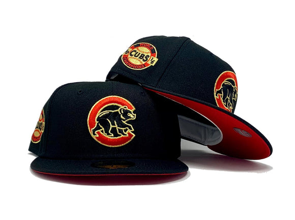 CHICAGO CUBS 2016 WORLD SERIES CHAMPIONS BLACK RED BRIM NEW ERA FITTED HAT