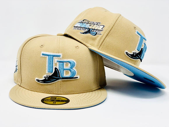 TAMPA BAY DEVIL RAYS 1998 INAUGURAL SEASON TAN ICY BRIM NEW ERA FITTED HAT