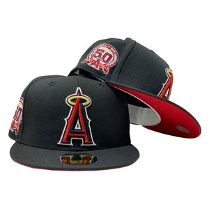 ANGELS 50TH ANNIVERSARY BLACK RED BRIM NEW ERA FITTED HAT